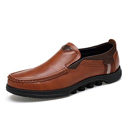gracosy Herren Leder Freizeitschuhe Mokassin, Flache Loafers Schuhe Halbschuhe Boots Freizeitschuhe, Braun C, 48 EU (Herstellergröße: 290)