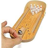 Indoor Wooden Mini Bowling Game - Best Family Party Play Board Desk Top Toys for Kids Adults Bowling Fans,Wood Finger…