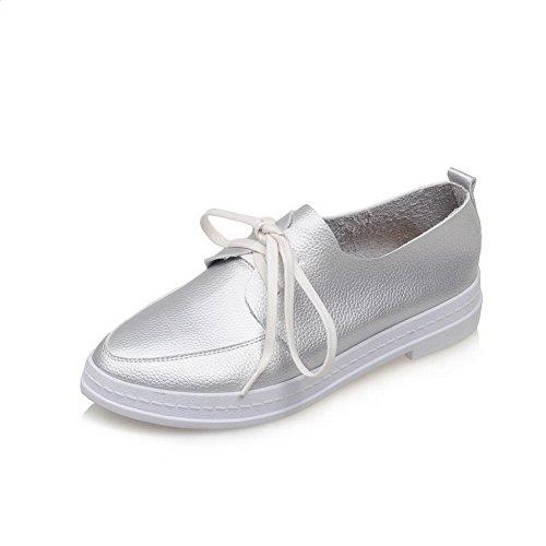 AllhqFashion Damen Niedriger Absatz Schnüren Rund Schließen Zehe Pumps Schuhe Silber