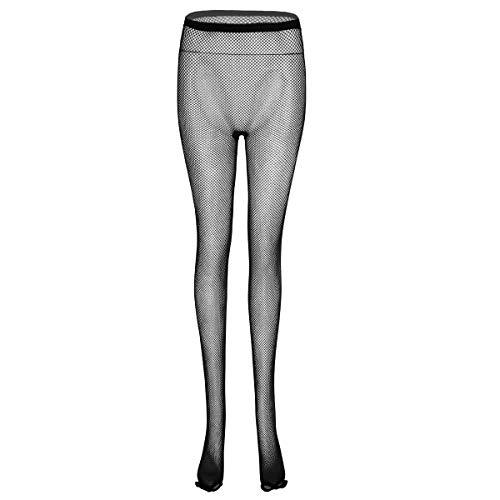 FEESHOW Damen Strumpfhose Zehenfrei Tanzstrumpfhose Leggings Tights Netz Unterwäsche transparent Unterhosen lang Schwarz One Size