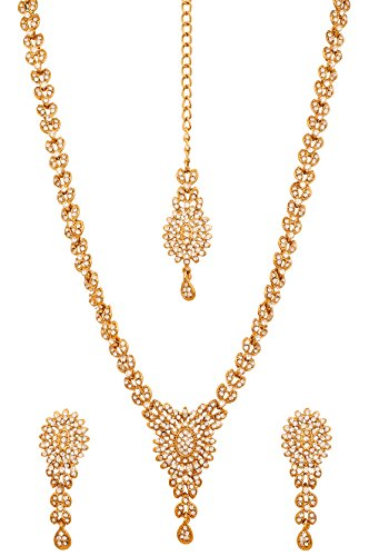 Touchstone Golden Plated Old Indian Bollywood White Diamante Light Bridal Jewelry Necklace...