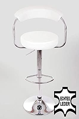 Barstools White REAL LEATHER Swivel height adjustable upholstery produced by HeuSa GmbH - quick delivery from UK.
