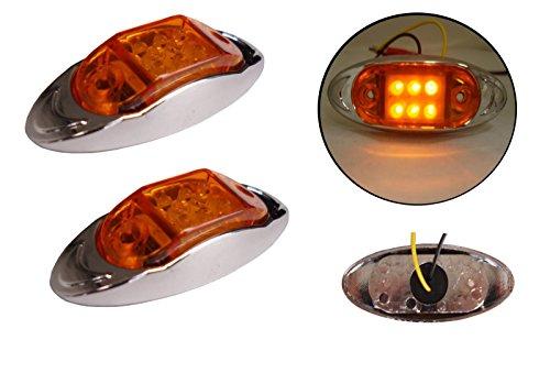 2x 12/24V 6LED Seite hinten vorne chrom Marker Bernstein orange Licht Lampe Trailer Pferdeanhänger Van -