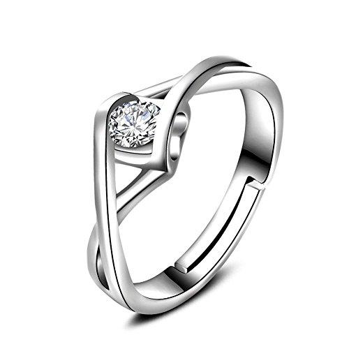 Cdet Offener Ring Engel Herz Diamant-Ring Sechseckig Ring Valentinstag Weihnachten Geburtstag Geschenk Frau Ring (Herren-diamant-jubiläum-band)