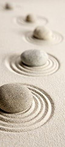 1art1 78206 Steine - Kreise Im Sand Fototapete Poster-Tapete 202 x 90 cm