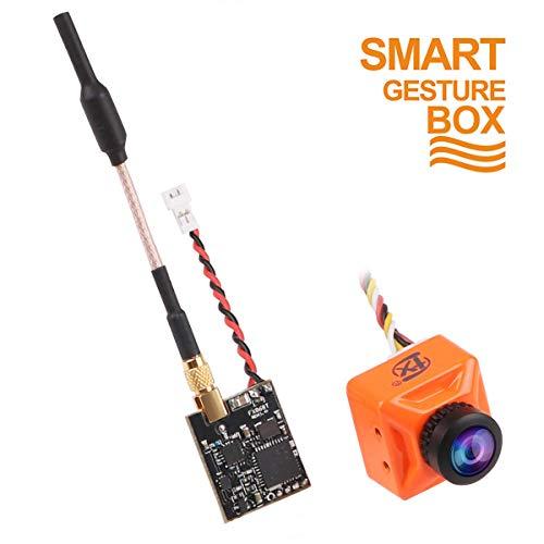 FPV Camera 800TVL Lente da 2,1 mm NTSC / PAL 16: 9/4: 3 Commutabile 160 gradi con trasmettitore FPV 37CH 5.8G Vano Nano regolabile con Smart Audio Combo Gesto intelligente di controllo per corsa Drone