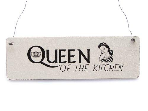 Küche Queen (Vintage Shabby Schild Türschild Dekoschild QUEEN OF THE KITCHEN Holzschild Küche)