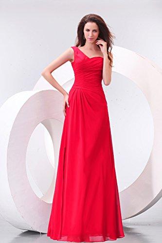 Bridal_Mall Damen Ein-Schulter Abendkleider Lang Chiffon Einfach Prom Ballkleid Rosa