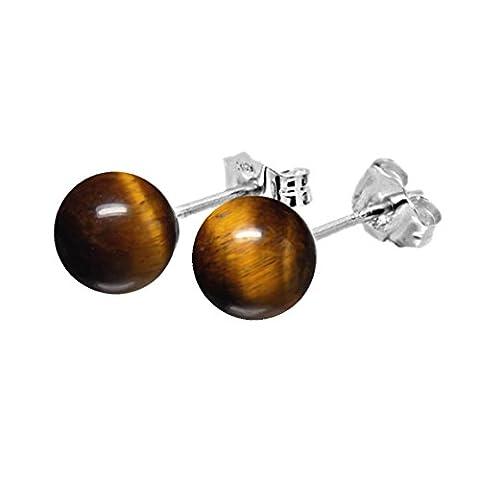 6mm Genuine Tiger's Eye Bead / Ball / Sphere 925 Sterling Silver Ear Stud Earrings Pair