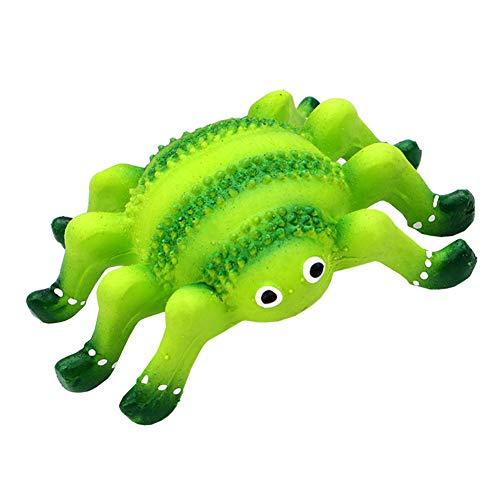 Xiton 1 PC Tresor Latex Hund quietschendes Spielzeug Niedlich Spinnen-Entwurf Haustier Kauen Spielzeug Zähneputzen quietschendes Spielzeug für Hunde Haustier Katze (Grün) -
