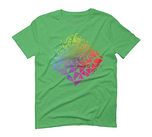 Geometric Rainbow Men's Graphic T-Shirt - Design By Humans Green