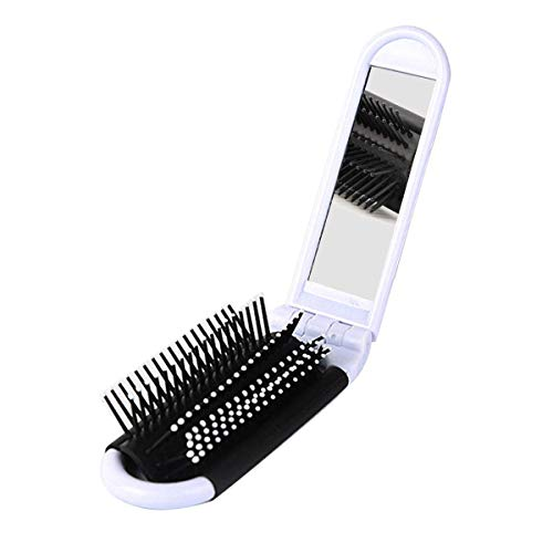 Portable Travel Folding Hair Brush With Mirror Compact Pocket Size Comb Massage Hair Brush-White -
