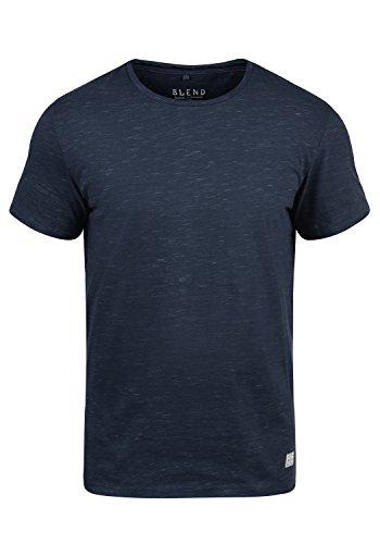 Blend Barnd Herren T-Shirt Kurzarm Shirt Rundhals-Ausschnitt Aus Hochwertiger Baumwollmischung Slim Fit Meliert, Größe:L, Farbe:Navy (70230) (Tshirt T-shirt Hochwertiges)
