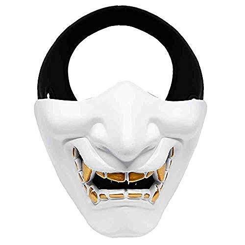 Da Kostüm Samurai - wuanni Halbe Gesichtsmaske Cosplay Samurai Teufel Taktische Halloween Party Festival Party Maske Halloween Dekoration Maskerade Maske