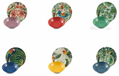 Servizio Piatti 18 Pezzi in Porcellana e Gres Villa d'Este Parrot Jungle