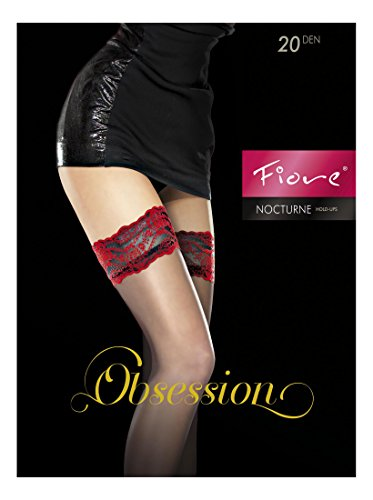 Fiore Luxus-Strümpfe, sehr fein, 20Denier, durchscheinend, halterlos-erhältlich in schwarz, weiß, rot Gr. Large, schwarz/red