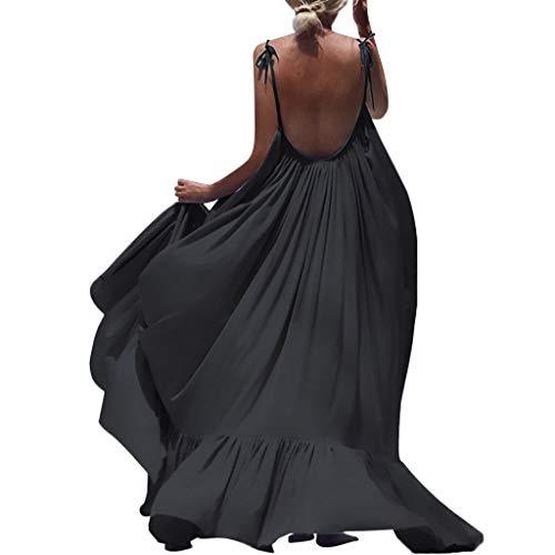 Riou BoMaxikleid Damen Sommer Lange Strandkleid Sexy Rückenfreies Ärmellos Solide Frauen Mode Casual Sommerkleid für Maxi Abend Party Mini Kleider