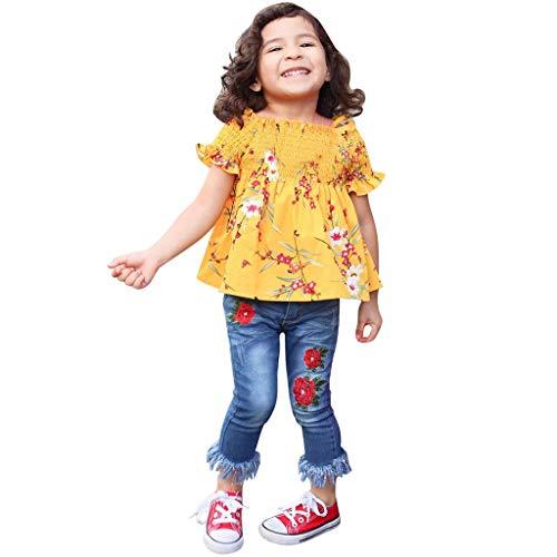 Bazhahei completi bambina estate,infantile bambino ragazza casuale tuta manica corta stampare t-shirt + jeans ricamo 2pcs set per festa club ballo scuola (2anni-7anni)