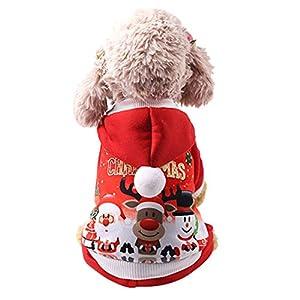 OuYou Vêtements de Chien Chat Christmas Noel Accessoires pour Animaux De Compagnie Manteau à Capuche Unisexes Hiver Imprimé Rouge Chihuahua