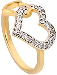 Manoj Ornaments Heart In Heart Designer Ring Gold Plated Sterling Silver For Woman & Girls