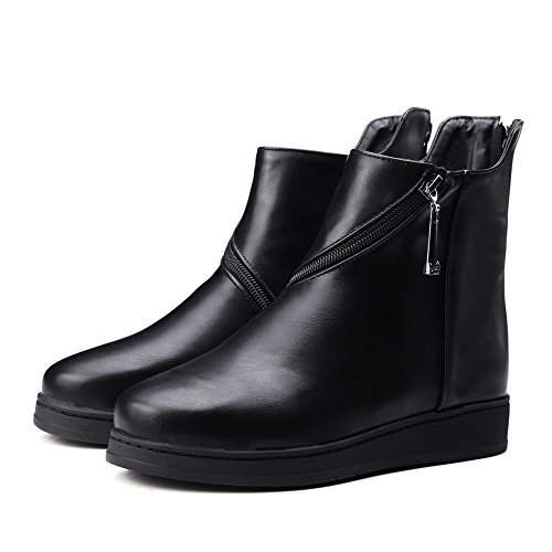 AgooLar Damen Niedrig-Spitze Weiches Material Niedriger Absatz Rund Zehe Stiefel Schwarz