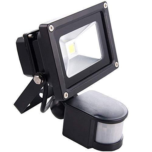 Sourcing4U X1-10W-FL-BL-C-PIR 10 W LED-Strahler mit Pir-Sensor, schwarz/kaltweiß -