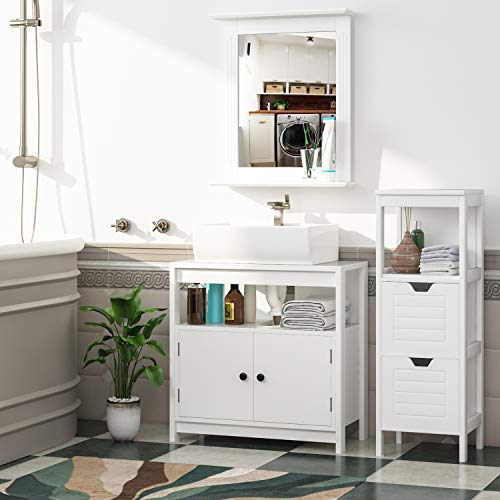 HOMFA 50x60cm Wandspiegel Badspiegel mit Ablage Hängespigel Spiegel für Badezimmer Wohnzimmer Flur Holz 50x12x60cm