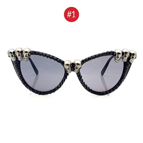 CCGKWW Trend Frauen Black Skull Strass Sonnenbrille Wunderschöne Uv400 Ghost Cat Eye Sonnenbrille Für Damen Round Gothic Shades