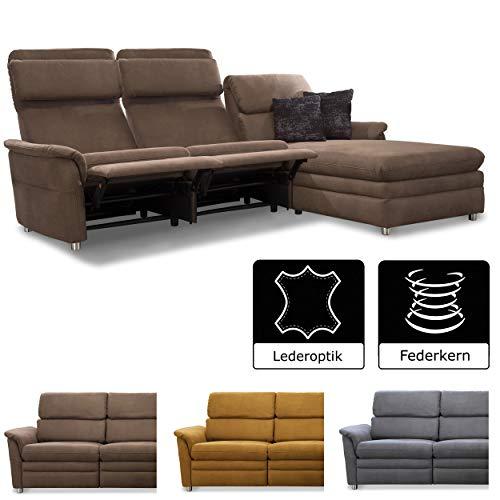 Cavadore Chalsay Sofaecke mit Longchair rechts inkl. Relaxfunktion und verstellbarem Kopfteil / mit Federkern / Eckcouch im modernen Design / Größe: 252 x 94 x 177 cm (BxHxT) / Farbe: Braun (chocco) -