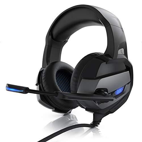 CSL - Gaming Headset für PC PS4 - PC Xbox One Xbox One S Xbox One X PS4 PS4 Pro - Klinkenanschluss - Kopfhörer Mikrofon - LED Beleuchtung - Professional - stoffummanteltes Kabel