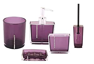 Premsons® 5 Piece Acrylic Diamond Bathroom Accessory, Purple (G5013-purple)