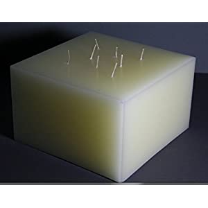 Mehrdochtkerze, Kerzen, quadratisch, Quadrat, viereckig, creme, 20 x 20 x 12 cm, 8 Dochte, groß