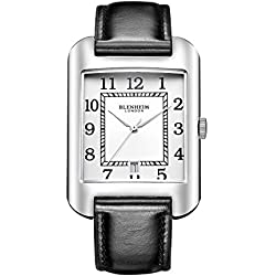 Blenheim London® B3180 Curve Watch White Arabic Numeral with Sliver Hands with Leather Strap