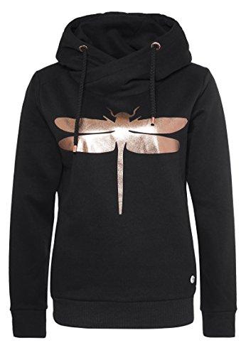 Rock Angel Damen Sweathoodie mit Libellenprint MIRA   Sportlich-Eleganter Kapuzenpullover black XL