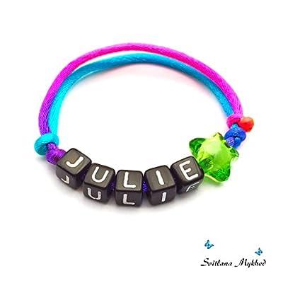 """Bracelet avec prénom """"JULIE"""" (réversible, personnalisable) homme, femme, enfant, bébé , nouveau-né."""