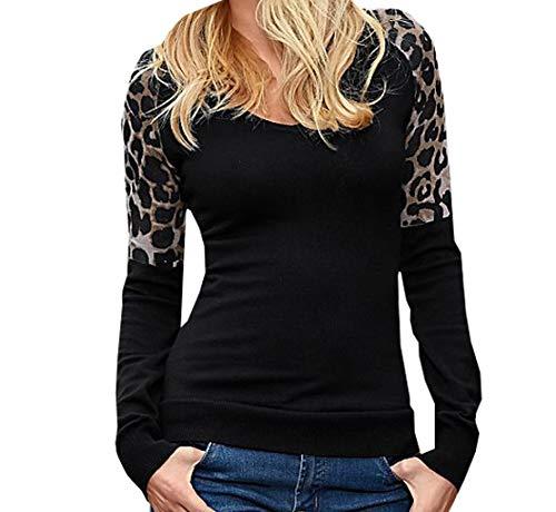 Simple-Fashion Primavera y Otoño Mujeres Tops Joven Moda Estampado de Leopardo Costura Manga Larga Pulóver T-Shirt Slim Blusa Sudaderas Casual Cuello Redondo Jerséis Camisetas Jumpers