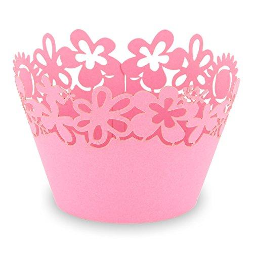 """Elfenstall Cupcake / Muffin Papierförmchen - Zierumrandung - Dekorand """" Blumen / Sonnenblume / Flowers """" 12 Stück für Geburtstage Hochzeiten Kommunion Konfirmationen Ostern Partys oder Feste (pink)"""