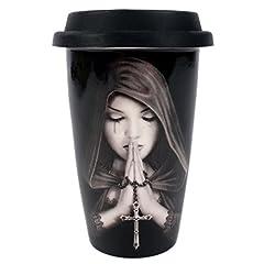 Idea Regalo - Something Different Tazza Termica da Viaggio con Disegno Preghiera Gotica di Anne Stokes, Colore Nero