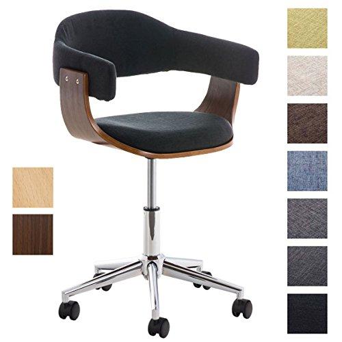 CLP Design-Bürostuhl BRÜGGE mit hochwertiger Polsterung und Stoffbezug | Höhenverstellbarer Schreibtischstuhl mit Einer gepolsterten Sitzschale Schwarz, Holzfarbe: Walnuss