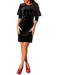 Vestidos Mujer de Cóctel Vestidos de Fiesta Cortos de Terciopelo Dorado con Volantes Atractivo Elegante y Encantador para Cóctel Partido Barra Festivales Acontecimientos Ocasiones Formales