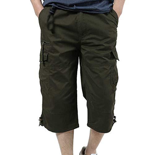 MRURIC♞ Shorts Herren Baumwolle Multi-Pocket Overalls Shorts Fashion Pant Outdoor Shorts Strandshorts Beachshort Jeanshose Vintage Freizeithose Casual Sporthosen Trainingsshorts