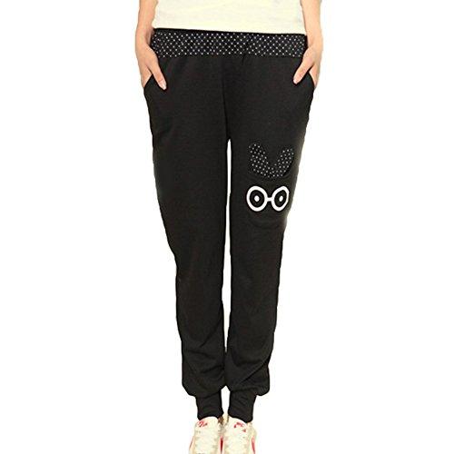 Mittlere Taille Hosen für Damen Mode Kaninchen-Muster Lose Jogginghose mit Kordelzug Casual Joggings Yoga Hose Sporthose Jeggings Übergröße
