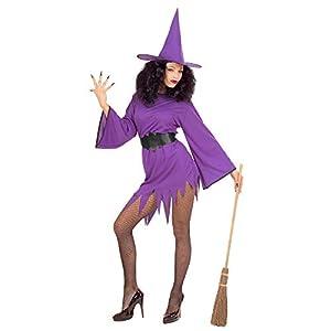 WIDMANN Disfraz de bruja morada para mujer, talla mediana, para Halloween