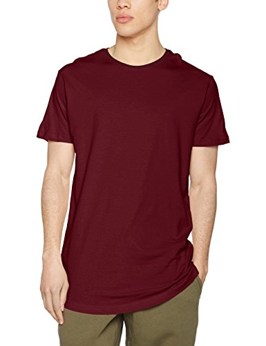 Urban Classics Herren T-Shirt Shaped Long Tee, Rot (Port), TB638, XS (Saum Tee)