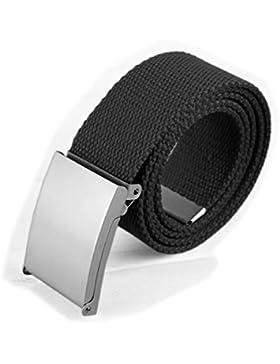 WSS–negro Unisex ajustable algodón Tejido Catch lienzo cintura cinturón ejército estilo combate, hebilla de...
