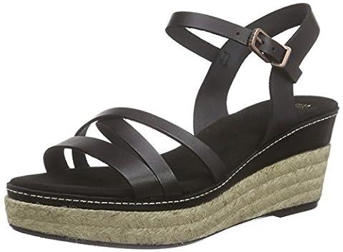 Fred de la Bretoniere Fred rope plateau sandalet cross straps 7.5cm wedge Formentara Mid, Sandales Bout ouvert femme - Noir - Noir, 41