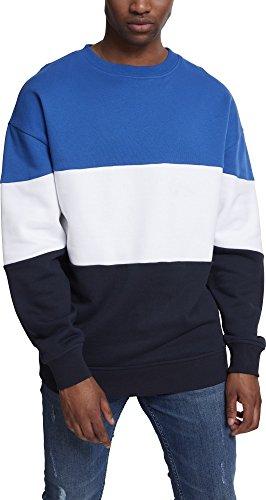 Urban Classics Herren 3-Tone Oversize Crewneck Pullover, Mehrfarbig (ROYAL/White/Navy 01232), Large -