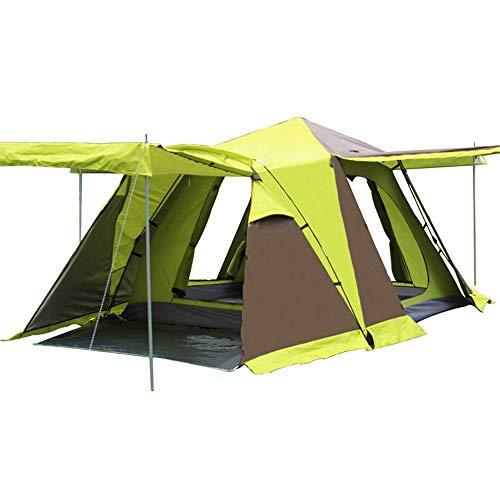 Zelt, 3-4 Personen Campingzelt - Vier Türen mit Schneerock - Quadratische Top Automatic Speed Open Zelt - Outdoor-Ausrüstung,Yellow