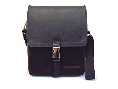 Schultertasche für Männer schwarze Farbe. Handgefertigte Umhängetasche für Männer. Leder und Baumwolle Herren Tasche. (Natürliche Umhängetasche Baumwolle)