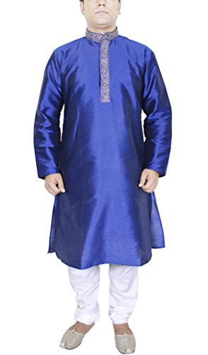 Männer billige Kleidung Kurta-Pyjama für Hochzeit indische Kleidung für blau (Gestreiften Kurta)